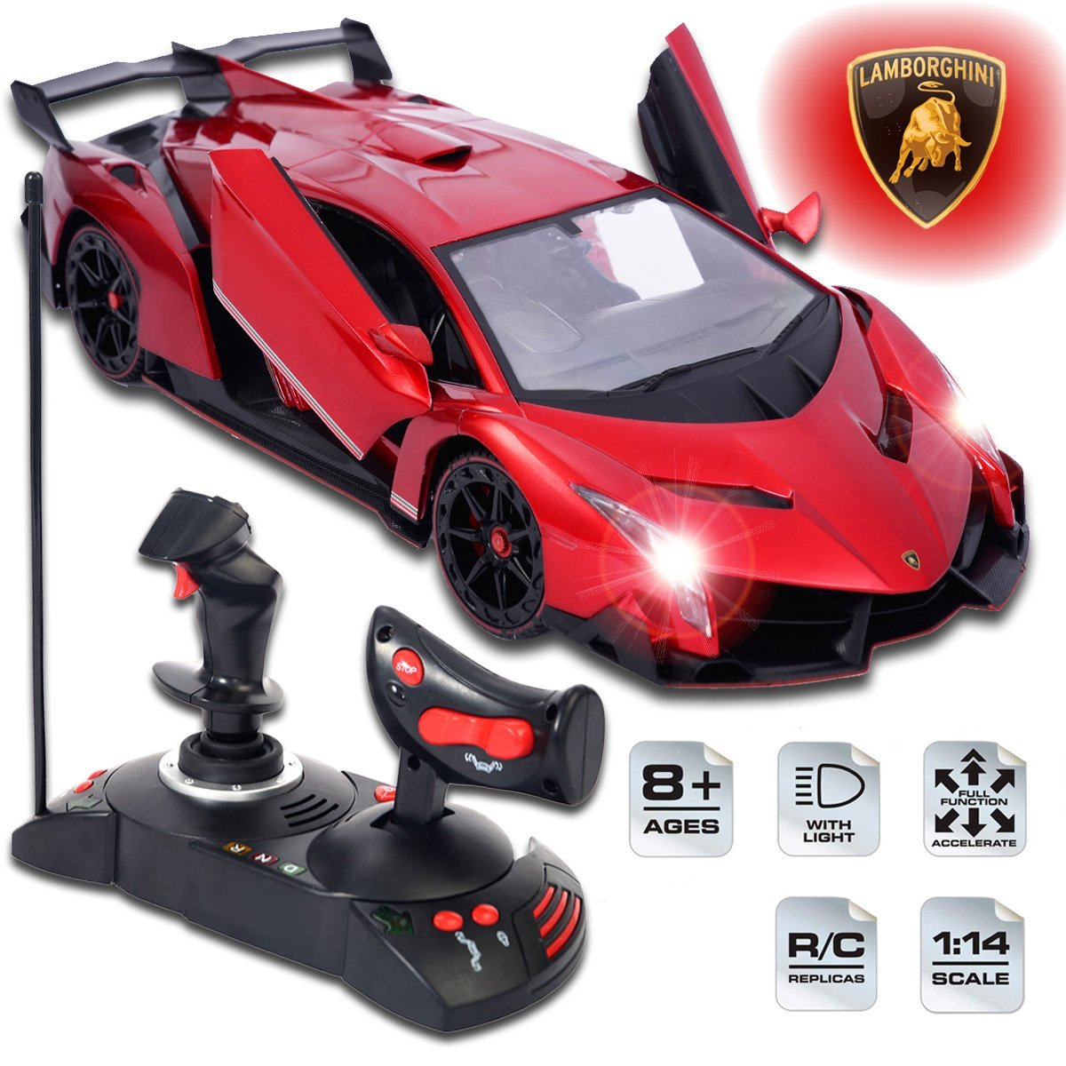 Lamborghini Veneno RC car remote control scale model 1/24 in red passion color.