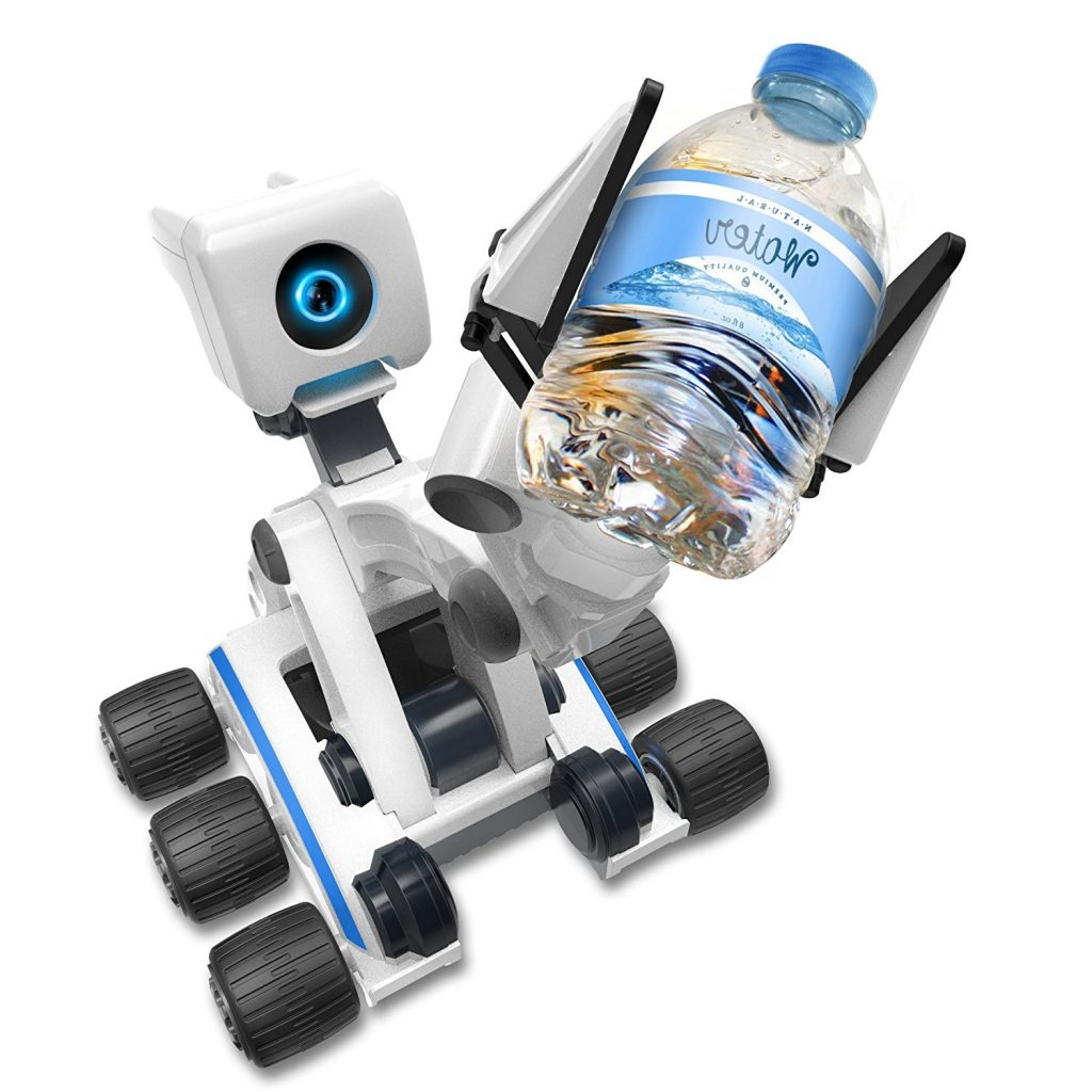 Mebo Robot  with 5-Axis Precision Controlled Arm holding a pet bottle.